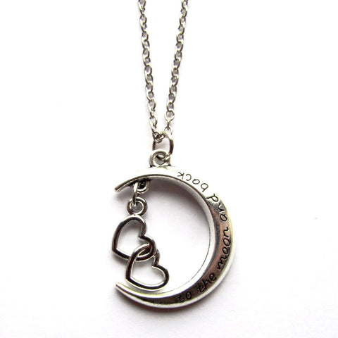 Double Love Heart To the Moon and Back Charm Word Necklace