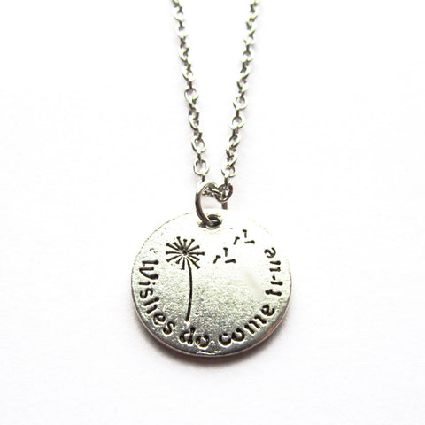 Wishes Do Come True Dandelion Stamped Word Pendant Necklace