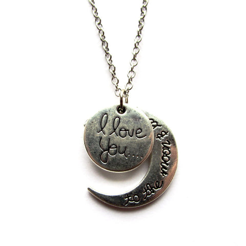 I Love You to the Moon and Back Silver Moon Charm Necklace