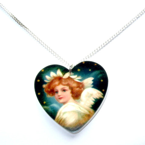 Beautiful Heart-shaped Winged Angel Christmas Pendant Necklace