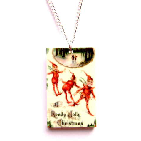 Vintage Style Jolly Elves Christmas Scene Print Necklace