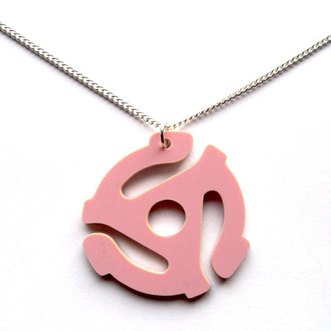 Retro Kitsch 45 RPM Insert Pink Acrylic Pendant Necklace