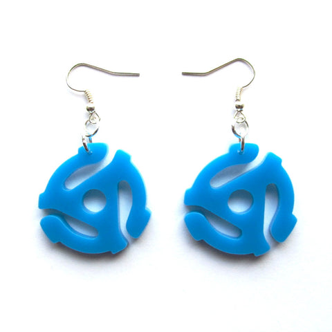 Retro Kitsch 45 RPM Insert Blue Acrylic Drop Earrings