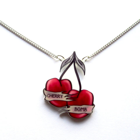 Sassy Retro Cherry Bomb Tattoo Cherries Pendant Necklace