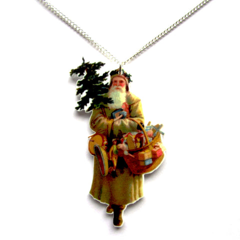 Vintage Victorian Style Father Christmas Festive Acrylic Necklace