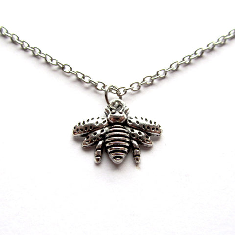 Cute Wee Bee Silvery Pendant Necklace