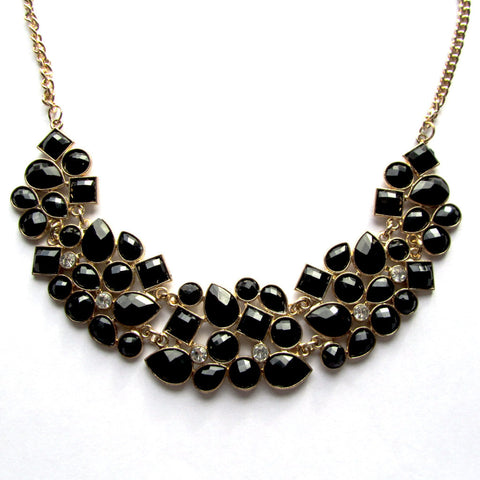 Statement Black White Fashion Gemstones Sparkling Collar Necklace