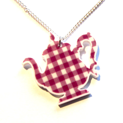Retro Vintage Kitsch Gingham Teapot Pendant Necklace