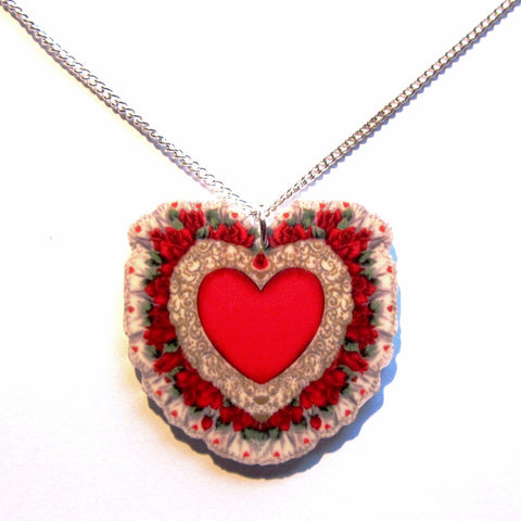 Fabulous Frilly Floral Chintzy Heart Pendant Necklace