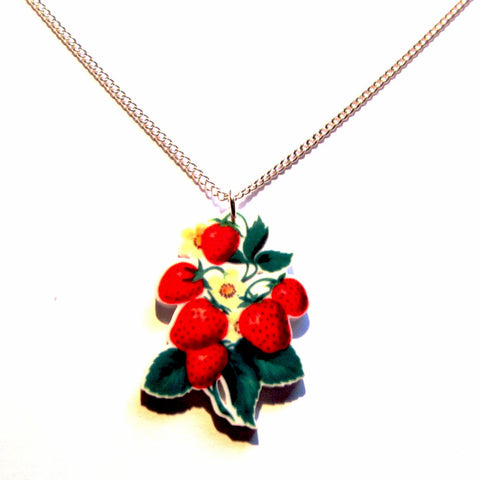 Pretty Strawberry Plant Print Acrylic Pendant Necklace