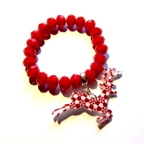 Christmas Patterned Stag Faceted Red Bead Bracelet