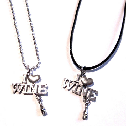 I Love Wine Fun Bottle Charm Pendant Necklace