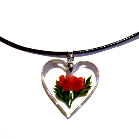 Pretty Resin Heart Red Flowers Pendant Necklace