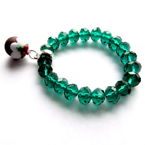 Green Bead 3D Christmas Pudding Clay Charm Festive Bracelet