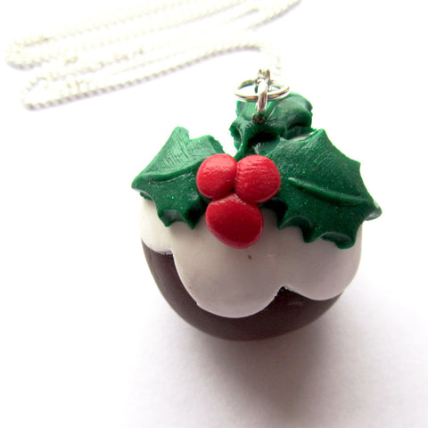 Large 3D Christmas Pudding Clay Pendant Necklace