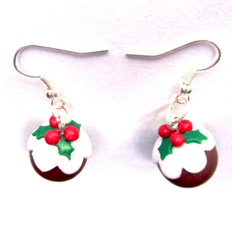 Pretty Dainty 3D Christmas Pudding Clay Drop Earrings