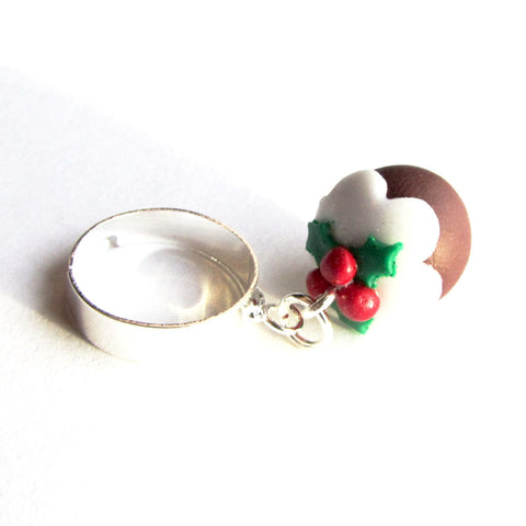 Fab Festive Dainty 3D Christmas Pudding Clay Charm Ring