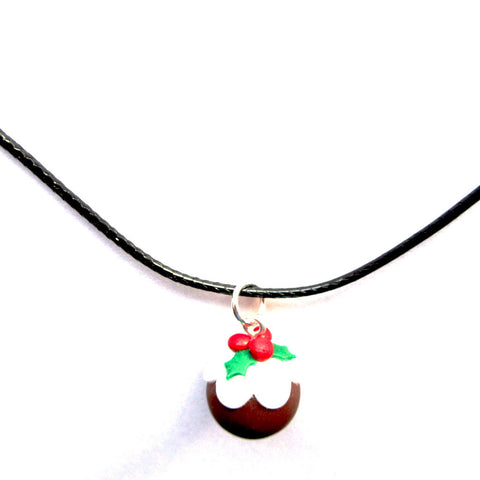 Pretty Dainty Christmas Pudding Clay Pendant Necklace