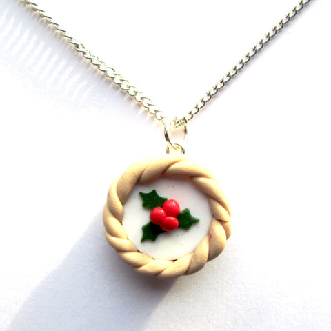 Merry Mince Pie Holly Clay Charm Pendant Necklace