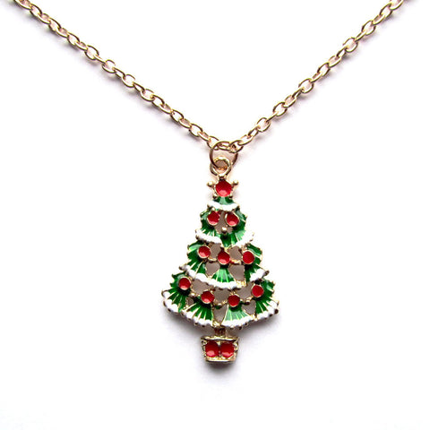 Pretty Decorated Christmas Tree Golden Pendant Necklace