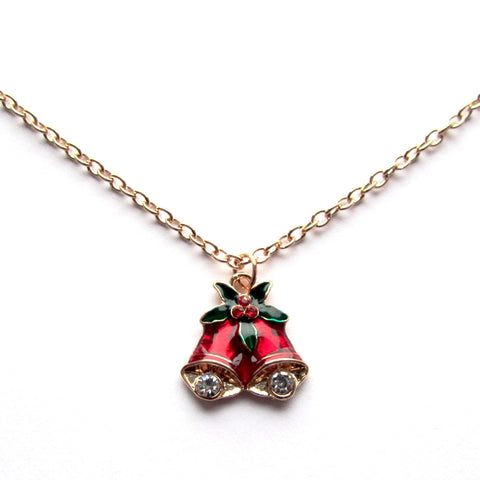Dainty Jingle Bells Festive Red Holly Pendant Necklace