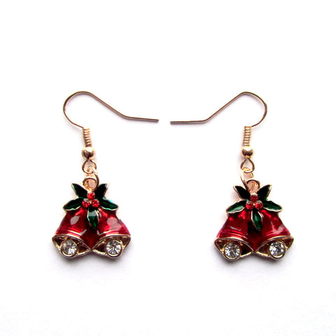 Dainty Jingle Bells Festive Red Holly Drop Earrings