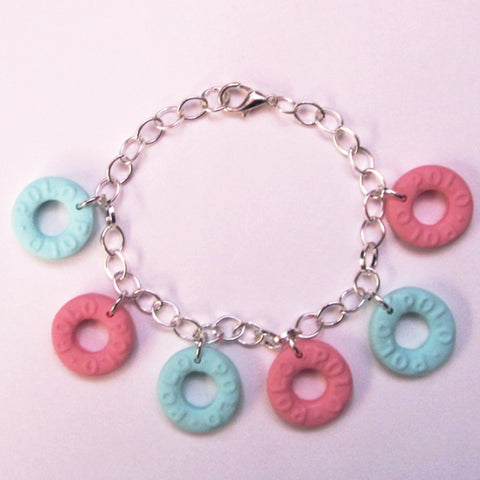 Cute Kitsch Mint Pink Polo Sweets Clay Charm Bracelet