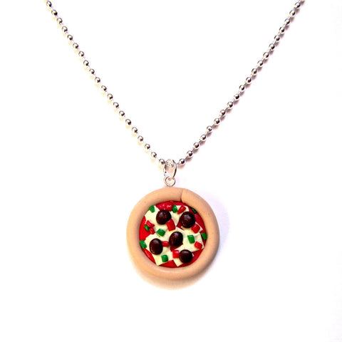 Kitsch Pepperoni Pizza Clay Pendant Necklace