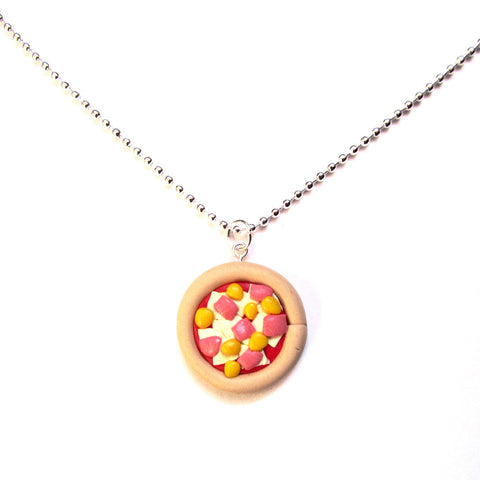 Kitsch Ham and Pineapple Pizza Clay Pendant Necklace