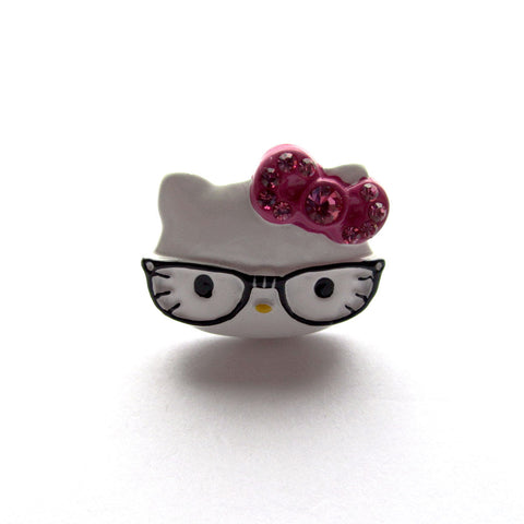 White Hello Kitty Face Stone Set Metal Ring