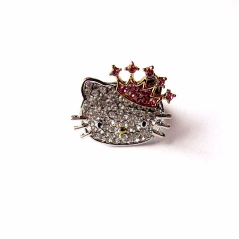 Sparkling Stone Studded Silver Hello Kitty Crown Ring