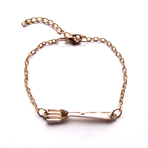 Quirky Fork Golden Chain Bracelet