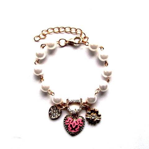 Pretty Faux Pearls Gemstones Golden Charms Bracelet