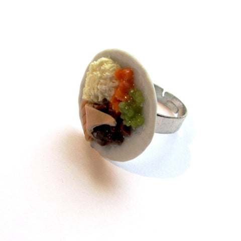 Kitsch Pie and Mash Plate Clay Ring