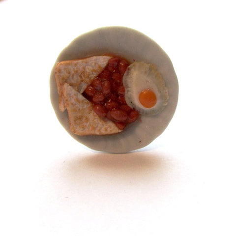Quirky Funky Egg and Beans Toast Plate Clay Ring