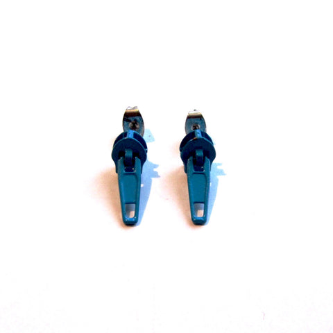 Funky Blue Zip Stud Earrings