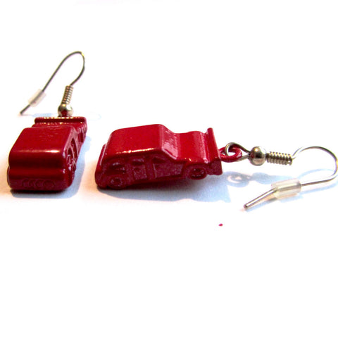 Red Car Vehicle Cast Drop Earrings