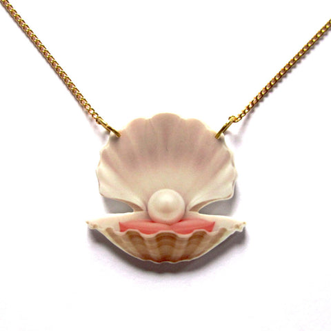 Statement Oyster Pearl Acrylic Pendant Necklace