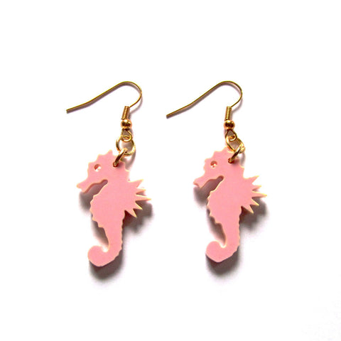 Pink Sea Horse Laser-cut Acrylic Drop Earrings