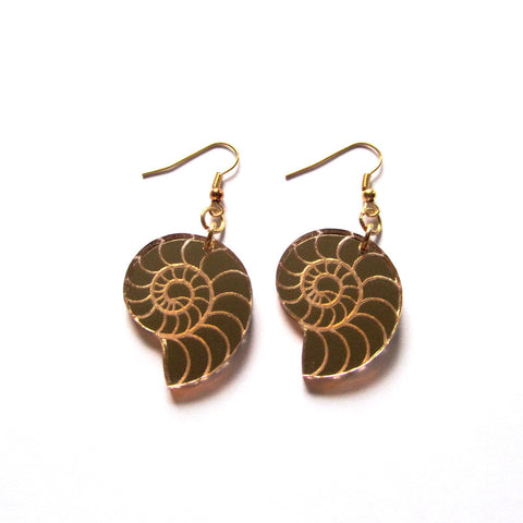 Kitsch Gold Mirror Conch Shell Acrylic Drop Earrings