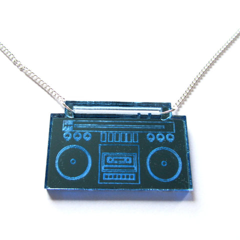 Retro Boombox Ghettoblaster Tape Player Blue Mirror Acrylic Necklace