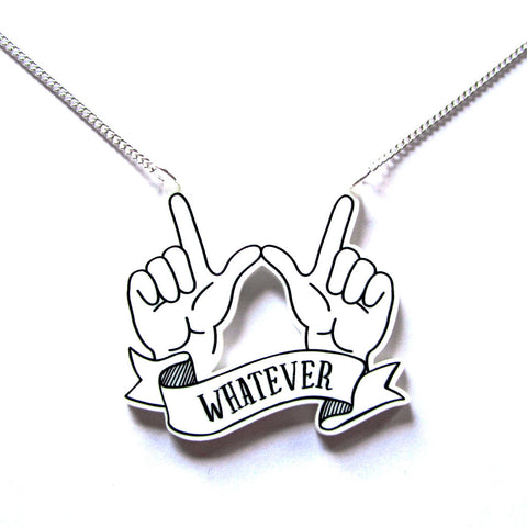 'Whatever' Hands Fun Acrylic Pendant Necklace