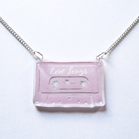 Retro Cool Cassette Tape Pink Acrylic Pendant Necklace