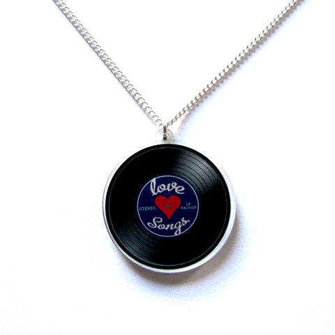 Cool Retro Vinyl Record LP Clear Acrylic Pendant Necklace