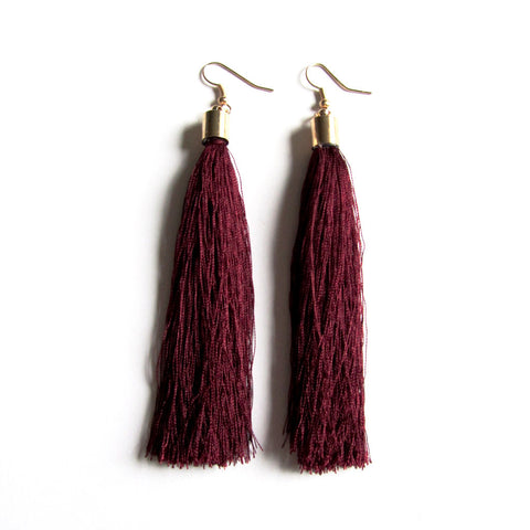 Large Funky String Tassel Statement Drop Earrings – Burgundy
