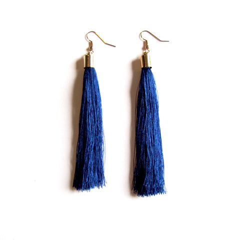 Large Funky String Tassel Statement Drop Earrings – Royal Blue