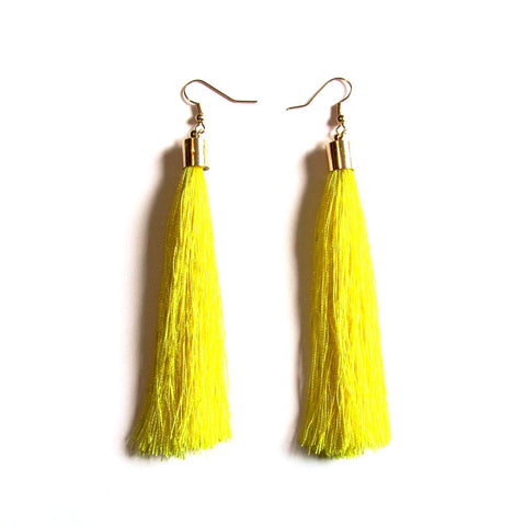 Large Funky String Tassel Statement Drop Earrings – Yellow