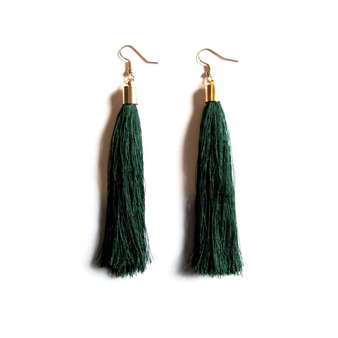 Large Funky String Tassel Statement Drop Earrings – Green