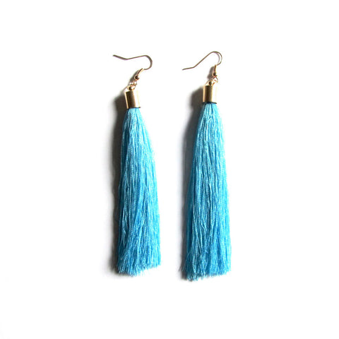 Large Funky String Tassel Statement Drop Earrings – Light Blue