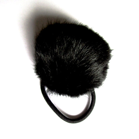 Black Fluffy Large Pom Pom Faux Fur Ball Hairband Tie